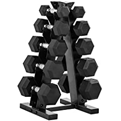 SET INCLUDES – A pair of 5-pound, 10-pound, 15-pound, 20-pound, and 25-pound rubber hex dumbbells with an A-frame dumbbell rack to store the weights. This set ships in multiple boxes. SPACE-SAVING DESIGN – The A-frame design of this rack maximizes fl...