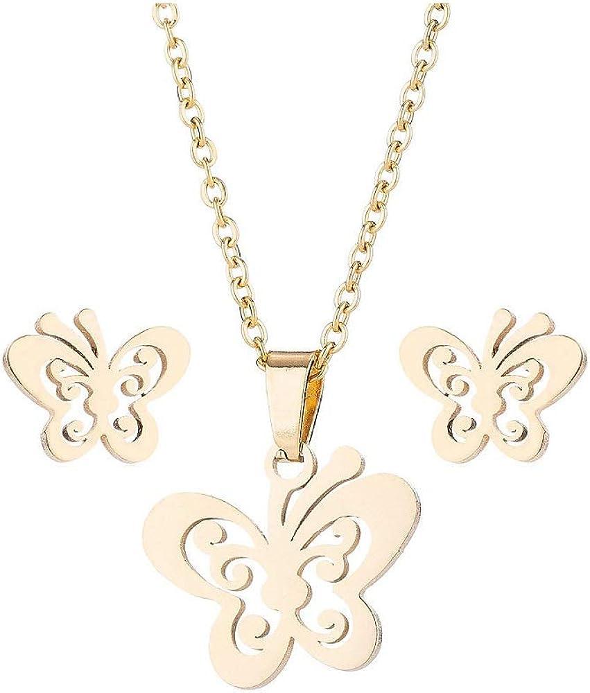 JOYID Butterfly Pendant Necklace Earrings Set Stainless Steel Insect Sweet Jewelry Set for Women