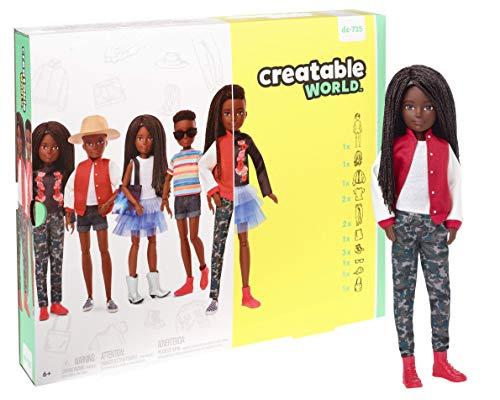 Creatable World- Kit Deluxe con Bambola Afroamericana, 6 Outfit, 3 Paia di Scarpe e Accessori, Giocattolo per Bambini 6+ Anni, GGG54