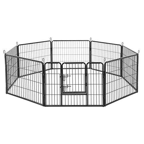 FEANDREA Recinzione Recinto per Cani Conigli roditori Animali Rete Gabbia di 8pz Ferro Nero 77 x 60 cm PPK86H