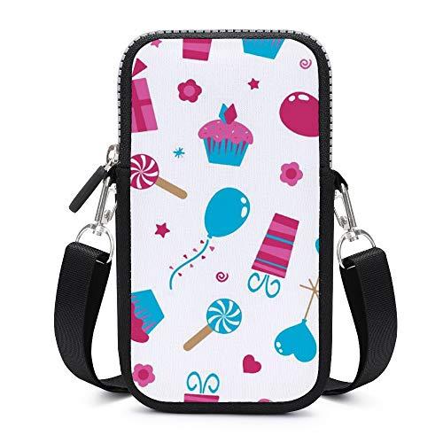 Handytasche, Crossbody mit abnehmbarem Schultergurt, Kuchen und Luftballons, schweißfest, Tasche für Geld, Taille, Geldbörse, Yogatasche, Frauen