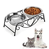 YOUTHINK Comedero para Perro Gato, 2 Acero Inoxidable Tazn Perro Gato, Mascotas Cuencos para Comida y Agua, con Soporte de Hierro