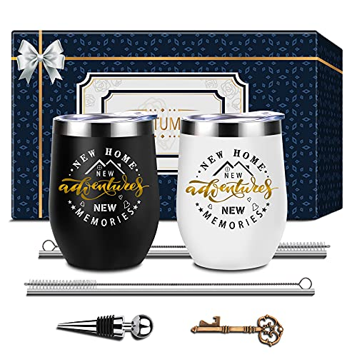 Housewarming Gifts, Gift for New Home, House Warming Present for Women, Men, Couple, Friend House Owner Gift, Welcome Home Gift, New Home New Adventure New Memories, Novelty 2 Pack Wine Tumbler Gift