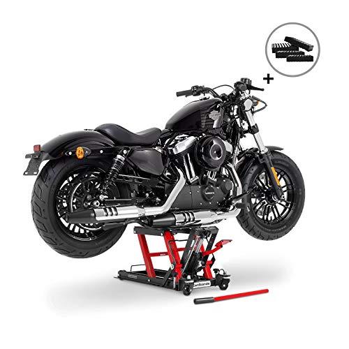 Motorrad Hebebühne Scherenheber Hydraulik-Lift ConStands L schwarz-rot inkl. 4 Distanzstücke
