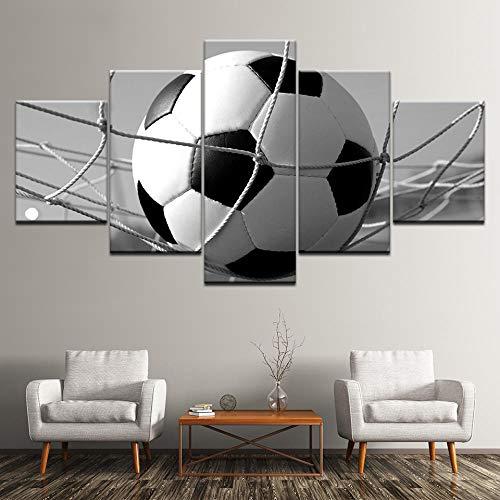 Suuyar Canvas Schilderij Voetbal zwart-wit foto 5 Stuks Muur Schilderkunst Sport Wallpapers Poster Print Home Decor-30x40 30x60 30x80cm geen frame