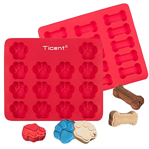 Ticent Silicone Ice Cube Trays, Dog Treats Baking Molds Paws & Bones Cake Pan for Kids, Pets, Dog-lovers Cookie Cutter, 12 by 10 inch