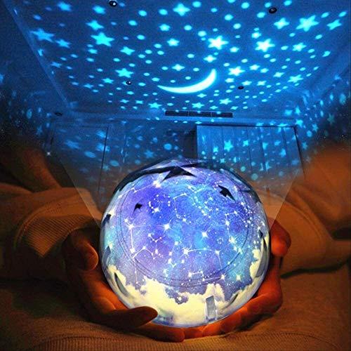 Leilims Projecteur Étoile Night Light Magic Planet Projecteur Terre Univers Lune LED Projecteur lumière colorée Rotary Clignotant étoiles Starry Sky Enfants GIF Rotation Lune