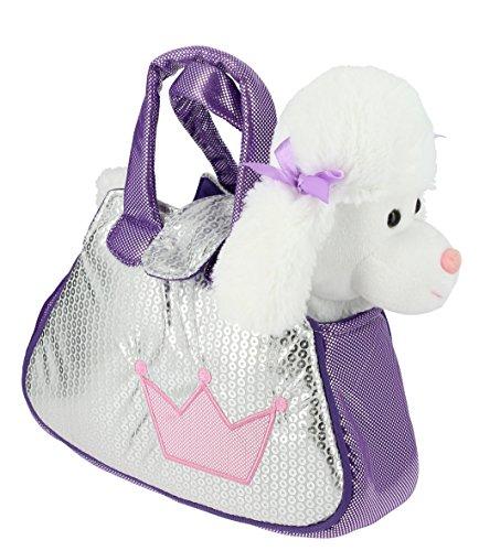 Bolso brillante plata y lila con un perrito Caniche blanco de peluche - 28cm Calidad Soft