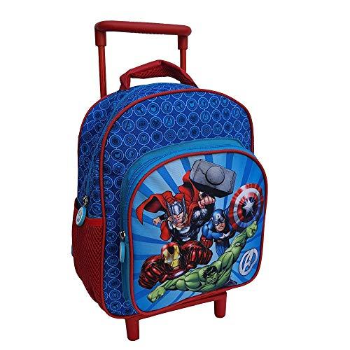 Zaino Asilo Trolley Avengers Marvel Thor Hulk Iron Man Capitan America 2 Ruote Manico ALLUNGABILE CM.30 - AV0617