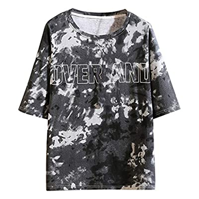 JustWin Men's Fashion Print Top Summer Short Sleeves Round Neck Comfortable Beach Simple Tee