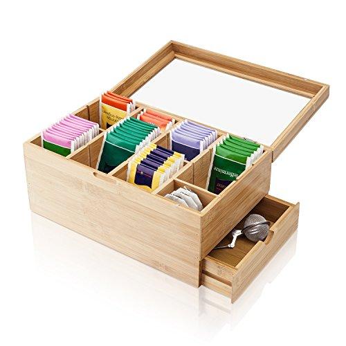 Amazy Caja para te de bambu – Caja de madera para te con 8 compartimentos, cristal templado y cajon para el almacenamiento de te (en bolsas) y otros accesorios