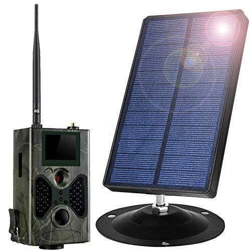 Panel Solar 1500Mah con Cámara De Caza 16MP 1080P Detector De Movimiento Nocturna IP66 Impermeable Gran Angular De 120 ° Cámara De Caza Nocturna para Seguridad En El Hogar Y Al Aire Libre