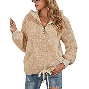 BMJL Women's Sherpa Pullover Fuzzy Sweater Zip Fleece Sweatshirts Hooded Cute Hoodies Outwear