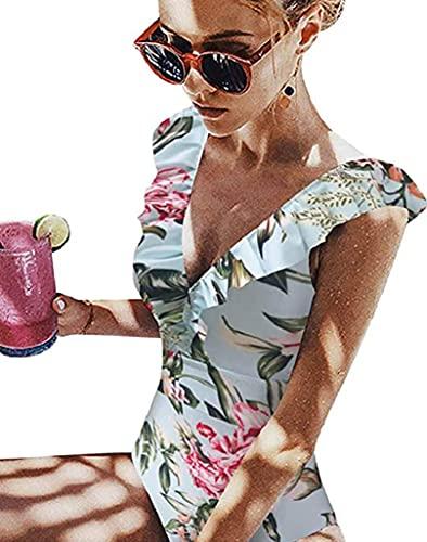 Davicher Costume da Bagno Donna Push Up Bikini Strisce Increspatura Costumi da Bagno Mare Piscina...