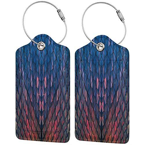 FULIYA Juego de 2 etiquetas de equipaje seguras de alta gama de cuero para maletas, tarjetas de visita o bolsa de identificación de viaje, superficie, forma, luz