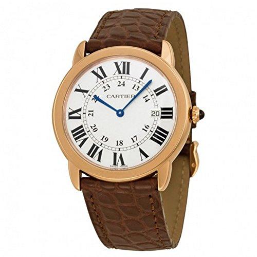 Cartier Ronde Solo De Cartier Silver Dial SS Leather Quartz Men's Watch W6701008