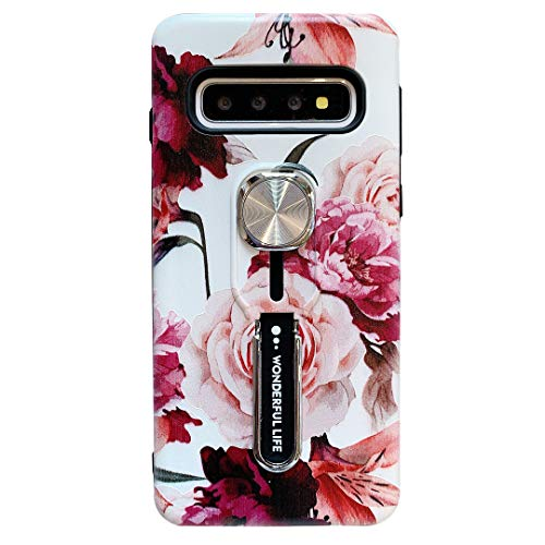 Samsung Galaxy S10 Plus Case for Women,Hosgor Flowers Print Finger Grip Design Rugged Shockproof Slim Soft TPU + Matte PC Dual Layer Ring Strap Cover for Galaxy S10+ - 6.4inch (Peony)