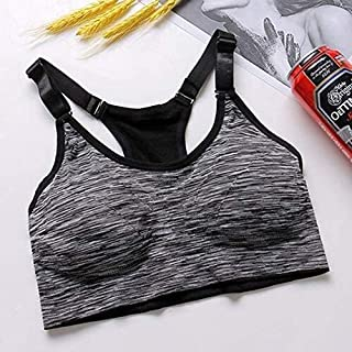 OneChange Ms. Quick-Drying Gray Sports Bra Thickening Increased Wireless Adjustable Seamless Yoga Fitness Jogging Jacket i...