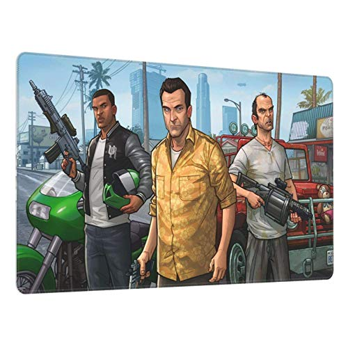 Alfombrilla Ratón Grande Gaming Mouse Pad XL con Superficie Texturizada Impermeable, Base de Goma Antideslizante GTA 5 750X400X3 mm