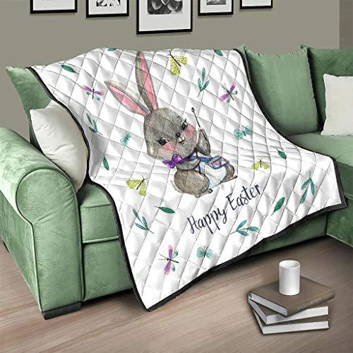 AXGM Colcha de microfibra, diseño de conejos de Pascua, color blanco, 230 x 280 cm