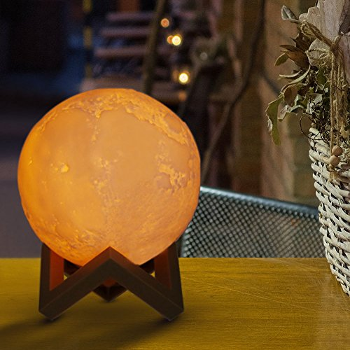 Moon Lamp, Slopehill 3D Moon Light Lamps LED 3 Colors Tapping Control with USB Charging, Home...