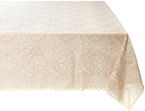 Violet Linen Stars Crochet Vintage Lace Design Oblong/Rectangle Tablecloth, 60' X 140', Ivory