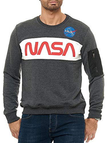 Red Bridge Herren Sweatshirt Pullover NASA Anthrazit S