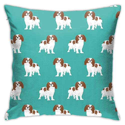 87569dwdsdwd Cavalier King Charles Spaniel Blenheim Dog Spaniel Square Pillow Case Home Sofa Decorative 18' X 18'Inch Ultra Soft Comfortable