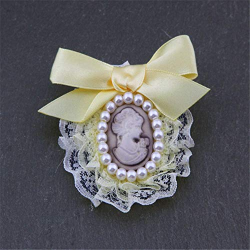 Piner Vintage Queen Head Portrait Broche Sieraden Lint Doek Broches Voor Dames Meisjes Jas Suit Shirt Kraag Pins Accessoires, geel 2