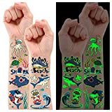 Partywind Glow Shark Birthday Party Supplies, 145 Styles Luminous Shark Party Decorations Favors for Kids, Shark Ocean Tattoo Stickers Gifts for Boys and Girls (12 Sheets)