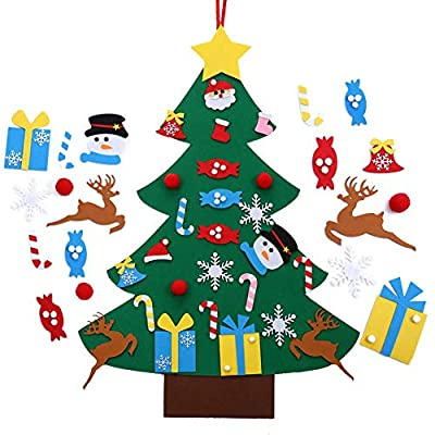 Autiy Kids DIY Felt Christmas Tree Set Wall Hanging Detachable Ornaments 26pcs Xmas Gifts Children Friendly Christmas Home Decorations 3.1FT