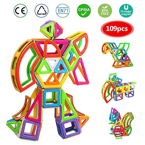 infinitoo Magnetische Bausteine 109tlg XXL Magnetic Bauklötze Konstruktion Blöcke | Tolles Geschenk für Kinder ab 3 Jahre | Perfekt für den Einsatz zu Hause, in Schulen, Picknick, Kindertagesstätten