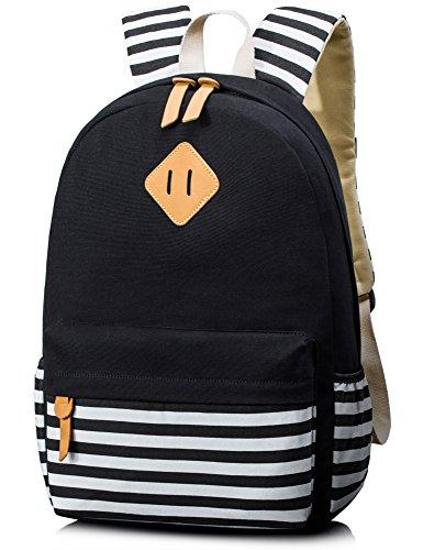 Leaper Unisex School Rucksack Stripe Travel Backpack 15.6 Inch Laptop (Black)