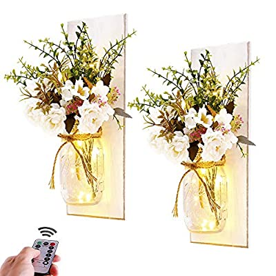 Rustic Wall Sconces Mason Jar Sconces Handmade Wall Art Hanging Design with Remote Control LED Fairy Lights and White Peony,Farmhouse Kitchen Decorations Wall Decor Living Room Vase Lights Set of Two