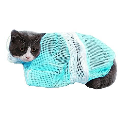 LINVINC Katzen Waschen Pflege Pflegetasche - Haustier Katzen Waschende Bad Tasche Badetasche Duschtaschen zum Dusche Injizieren Untersuchen Nagelschneidens - Blau
