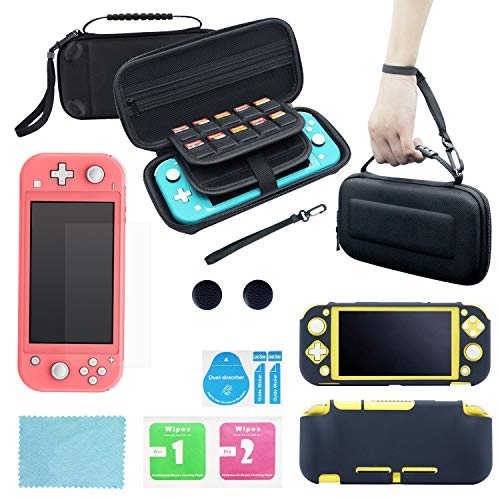Carrying Case for Nintendo Switch Lite with 20 Game Card Slots, Screen Protector, Silicone Cover, Thumb Grips, Protective Travel Set of Essential Accessories, Kit, Bundle, Starter Pack G1