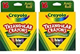 Crayola Triangular Crayons 16 Count Anti Roll (2-Pack)