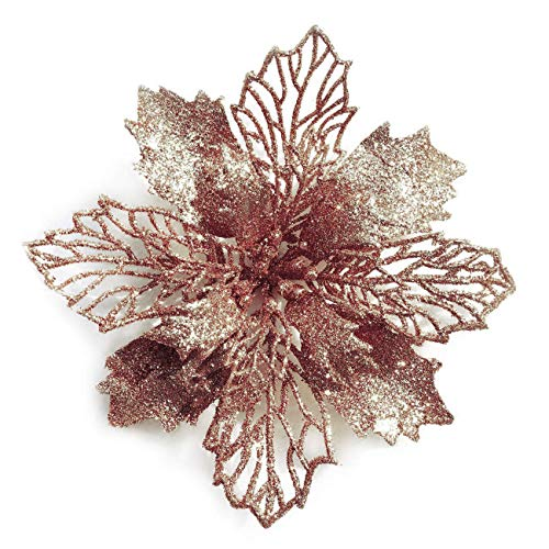 GL-Turelifes Pack of 12 Glitter Artificial Poinsettia Flowers Christmas Wreath Christmas Tree Flowers Ornaments 6''(16cm) Diameter with 12 Pcs Green Soft Stings (Rose Gold)