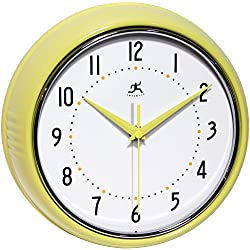 Infinity Instruments 10940-AURA Retro 9-1/2-Inch Metal Wall Clock,Yellow