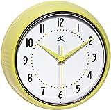 Infinity Instruments 10940-AURA Retro 9-1/2-Inch Metal Wall Clock,Yellow