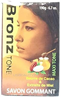 BronzTone MAXI TONE Exfoliating Soap 6.7 oz with Cocoa Butter, Apricot Grain & Honey Extracts for a Smooth Body, Dark Spot Elimination, Uneven Skin Tone and Dry Skin.