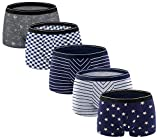 ADOLPH Men's Boxer Briefs 5 Pack No Ride-up Breathable Comfortable Cotton Sport Underwear-Mixed B-M