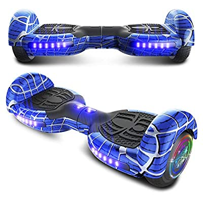 "TPS 6.5"" Spider Web Edition Hoverboard Self Balancing Scooter with Colorful LED Wheel Lights - UL2272 Certified (Spider Blue)"