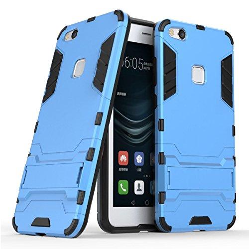 Hoesje voor Huawei P10 Lite (5,2 inch Scherm) 2 in 1 Hybrid Rugged Schokbestendige Back Cover met Kickstand Hoes (Blauw)