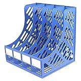 Chutoral Revistero archivador de 4 secciones, caja de almacenamiento de plástico resistente, vertical, archivador, archivador, archivo, columna cuádruple, archivador de datos (azul)