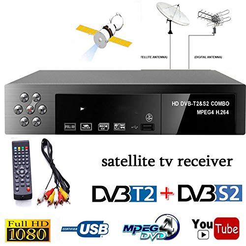 DishyKooker - Receptor de TV Digital por satélite (DVB-T2 + DVB-S2 FTA 1080P, decodificador MPEG4, Enchufe Europeo)