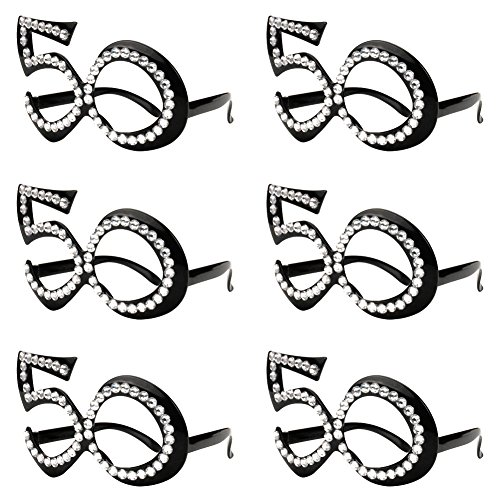 50th Birthday Glasses - Number Crystal Frame, Party Favors, Wedding, Funny Costume Sunglasses, Novelty Eyewear Celebration Decoration for Kids and Adults 6 Pack (50)