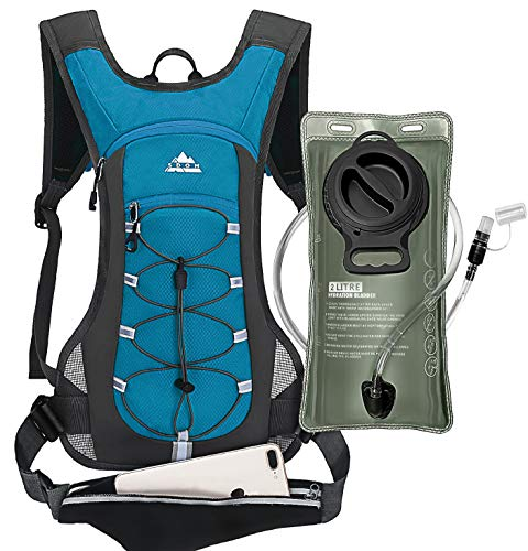 Hydration Backpack with 2L LeakProof Water Bladder Water Backpack for Short Day Hikes Day Trips and CyclingLake Blue