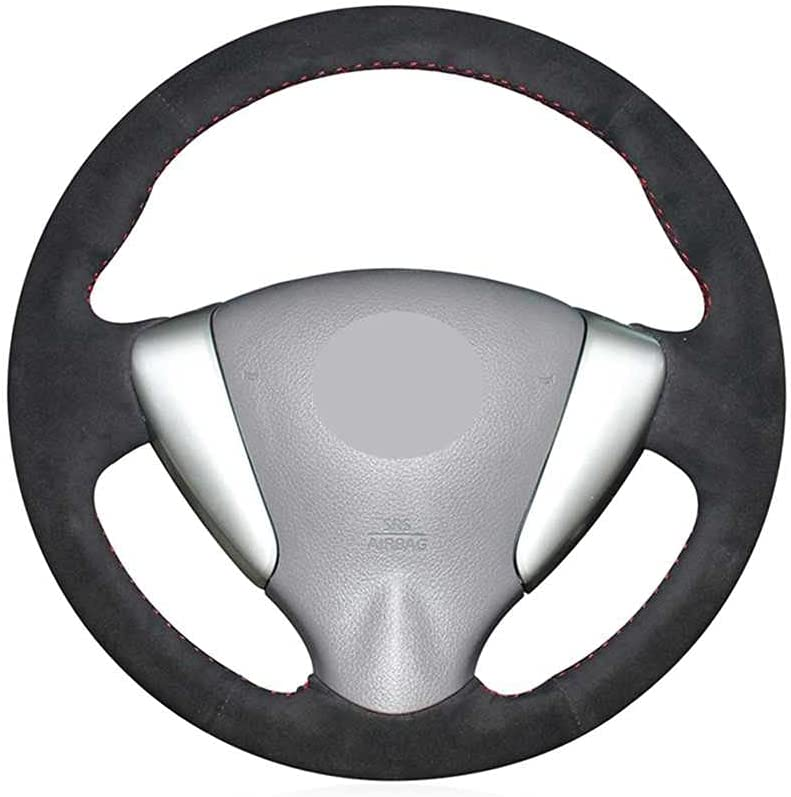 ZHHRHC Car DIY In stock Hand-Stitched Louisville-Jefferson County Mall Black Steering Wheel for Cover Fit