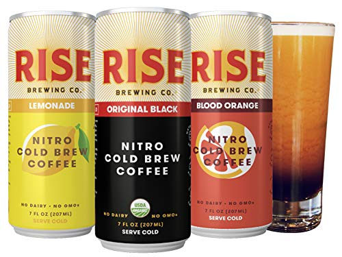 RISE Brewing Co. | Nitro Cold Brew Coffee (12 7 fl. oz. Cans [4 Original Black, 4 Blood Orange, 4 Lemonade]) - Gluten & Dairy Free | Organic, Non-GMO, Vegan Ingredients | Clean Energy & Low Acidity